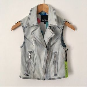 NWT Sam Edelman denim motorcycle denim vest XS